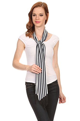 LL Womens Chic Long Skinny Thin Scarf Tie Sash Fringe Light Weight Many Styles (Navy - Scarf Ladies Tie