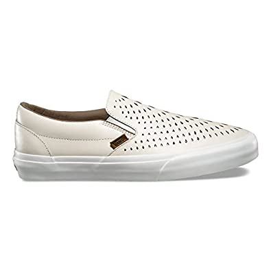 vans slip on white perforated shoes