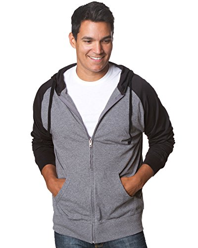 (Lightweight T-Shirt Material Zip Up Hoodie with Pockets Gunmental/Black Med)