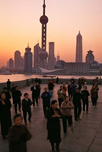 Chi Tai Tower (Posterazzi Tai-Chi on the Bund Oriental Pearl TV Tower and High Rises Shanghai China Poster Print by Keren Su (24 x 36))