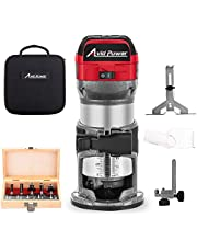6.5-Amp 1.25 HP Compact Router with Fixed Base, 5 Trim Router Bits, Variable Speed, Edge Guide, Roller Guide and Dust Hood, Avid Power MW104