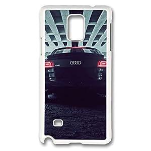 Galaxy Note 4 Case, Creativity Design Bridge Audi R8 Back Creativity Print Pattern Perfection Case [Anti-Slip Feature] [Perfect Slim Fit] Plastic Case Hard White Covers for Samsung Galaxy Note 4