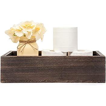 Mkono Bathroom Decor Box Toilet Paper Holder Wood Tank Box Storage Bin Basket with Mason Jar and Silk Flower Bathroom Kitchen Table Counter Funny Farmhouse Rustic Fall Home Decor