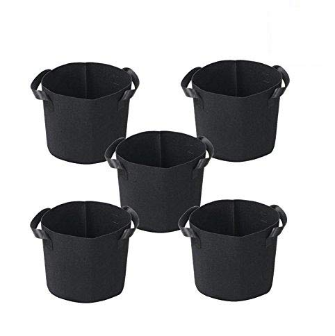 - Growtent Garden Grow Bags/Aeration Fabric Pots w/Handles/8-Pack 5 Gallon(Black)