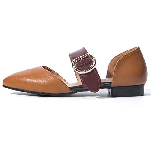 COOLCEPT Mujer Moda Mary Janes Sandalias Plano Cerrado Zapatos Tamano Amarillo