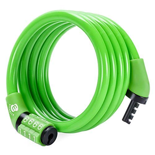 ETRONIC Security Multi-Purpose Self Coiling Cable Lock M4, 4-Feet x 5/16-Inch - Green - Rim Leaf Green