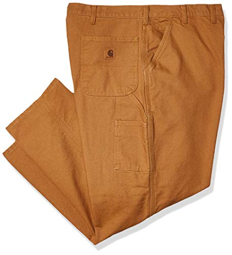 Carhartt Men's Washed Duck Dungaree Flannel Lined Work Pant, Brown, 36W X 32L