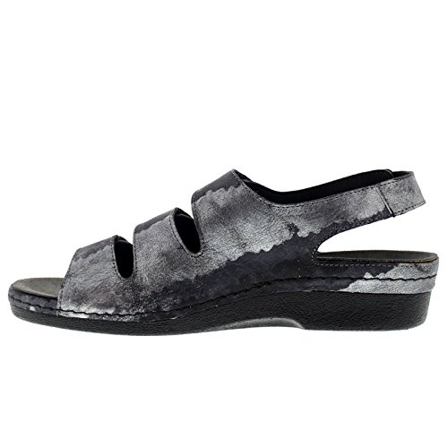 Helle Comfort Womens 356-F Leather Sandals Schwarz Silber