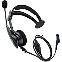 Coodio Over-the-Head Earpiece Headset [Swivel Boom Microphone] [Noise Cancelling] For Motorola MOTOTRBO 2 Way Radio