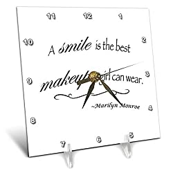 3dRose dc_163983_1 A Smile is The Best Makeup a Girl Can Wear, Marilyn Monroe Quote Desk Clock, 6 by 6