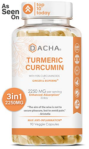 DACHA Tumeric Curcumin Supplement - 2250mg Joint Support Supplements Turmeric with Black Pepper Bioperine Ginger 95% Curcuminoids Anti Inflammatory Capsules Antioxidant Back Pain Relief