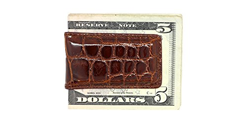 Cognac Glazed Genuine Alligator Magnetic Money Clip – American Factory Direct - Extra Strong Shielded Magnets - Money Holder - Money Holder - Made in USA by Real Leather Creations (Genuine Alligator)