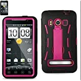 HTC EVO 4G Case, iSee Case (TM) Dual Layer TPU PC Gel Protective Anti-Slip Grip with Kickstand Cover Case for Sprint HTC EVO 4G (EVO-Armor Pink)