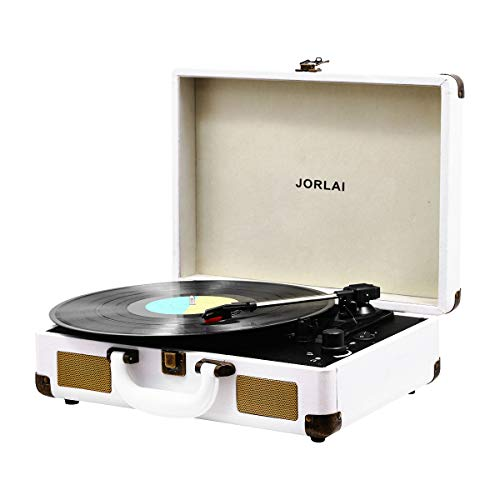 Vinyl Record Player, JORLAI 3-Speed Turntable Record Players Suitcase with Stereo Speaker/ Rechargable Battery/ Vinyl-to-MP3 Recording/ Headphone Jack/ Aux Input/ RCA Line Out - White