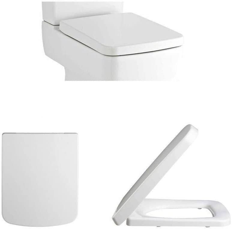Premier NCH198 Square Soft Close Toilet Seat Top Fixing Easy Clean White Modern