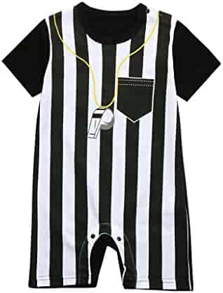 767f9f80eb Kehen Infant Baby Toddler Boy Girl World Cup Outfit Striped Football Soccer  Referee Romper Jumpsuits Summer