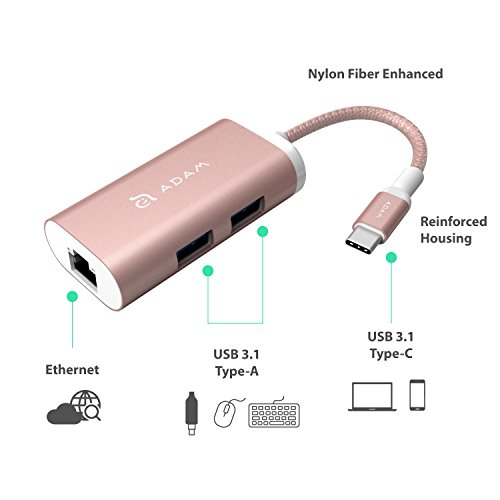 USB C Adapter Hub with Type-C Connector Nylon Braided Cable, Ethernet, 2x USB Type A Ports, Compatible for Apple and PC Devices, Featuring Durable Aluminium Shell (Rose Gold)