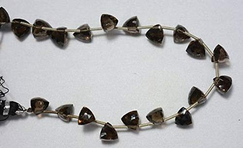 (GemAbyss Beads Gemstone Pyramid Shape Faceted Beads, Trillion Cut Briolette Beads, Smoky Quartz Gemstone Beads, 8mm Beads, 4 Inches Strand Code-MVG-31324)