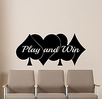 Poker Wall Decal Play and Win Casino Play Room Vinyl Sticker Holdem Cards Game Gaming Nursery Wall Art Teen Kids Room Wall Decor Removable Waterproof Mural 58i