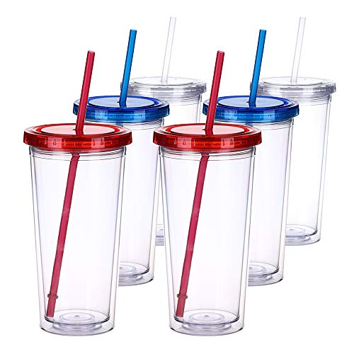 H&F Tumblers with Lids and Straws, 22oz Double Wall Plastic Tumbler Bottles, Reusable Cup with Straw - Insulated Tumbler, BPA Free Pack of 6