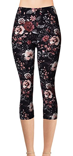 - VIV Collection Regular Size Printed Brushed Capris (Seamless Floral)