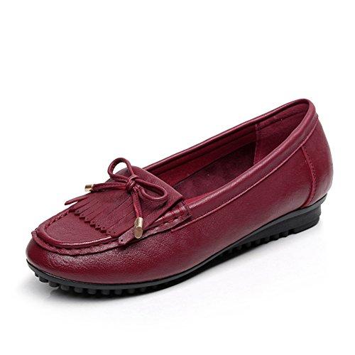 Guisantes zapatos femeninos/zapatos de talón de la manera plana/Zapato de cabeza redonda/Mamá y fondo suave zapatos A