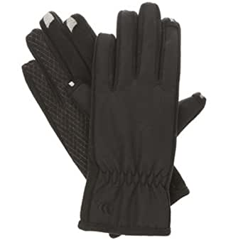 Isotoner Women's smarTouch 2-Finger Matrix Nylon Gloves with Silicone Gripper Palm, ThermalFlex Lining, Medium/Large, Black