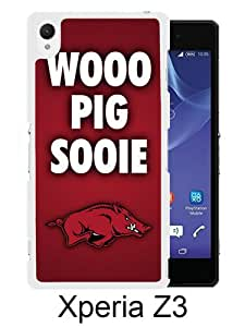Southeastern Conference SEC Football Arkansas Razorbacks 1 White Abstract Custom Design Sony Xperia Z3 Protective Phone Case
