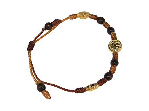 Pulsera De San Benito, Saint Benedict Bracelet with Attached Gold-tone Medals Adjustable Bracelet