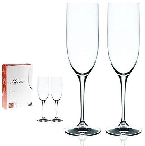 2 X ITALIAN RCR ALISEO VINCI CRYSTAL GLASS CHAMPAGNE FLUTES GLASSES GIFT BOX SET