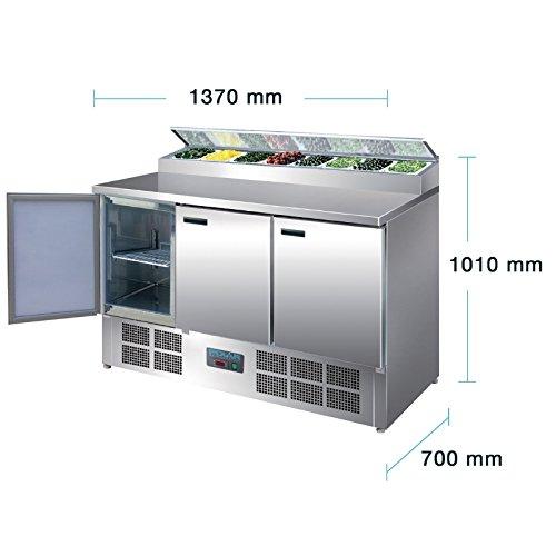 Polar Frigor/ífico comercial 390/L Mostrador refrigerado para preparaci/ón de pizza y ensaladas con pantalla