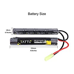 TATTU 9.6V NiMH Battery 1600mAh Butterfly Nunchuck Stick Rechargeable Battery Pack with Tamiya Connector for Airsoft Gun ICS CA TM SRC JG G36 G&M733