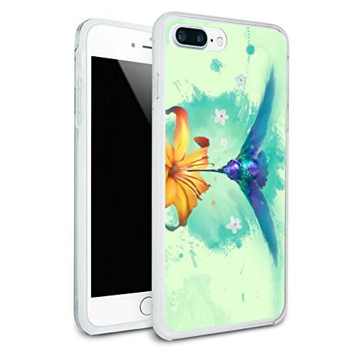Hummingbird and Tiger Lily Flower Protective Slim Fit Hybrid Rubber Bumper Case for Apple iPhone 7 Plus