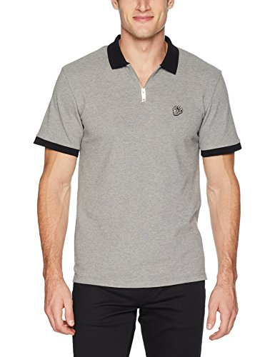 (The Kooples Men's Men's Pique Polo Shirt with Contrasting Collar and Skull Patch, Gry XL)