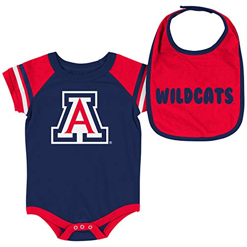 Colosseum NCAA Baby Short Sleeve Bodysuit and Bib 2-Pack-Newborn and Infant Sizes-Arizona Wildcats-3-6 Months