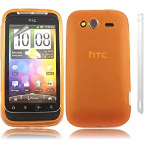 Gel Case Cover Skin And LCD Screen Protector For HTC Wildfire S G13 / Orange Design