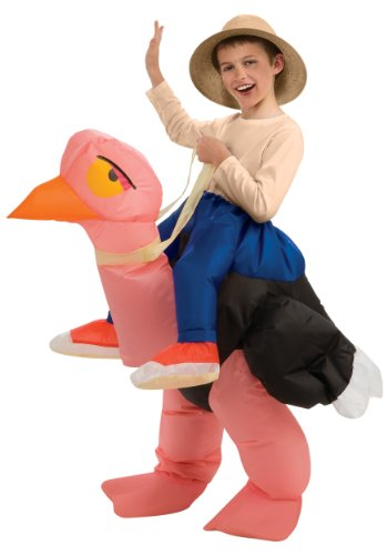 Halloween Costumes Riding Ostrich (Big Boys' Inflatable Ostrich Costume, One Size for 5-7 Years)