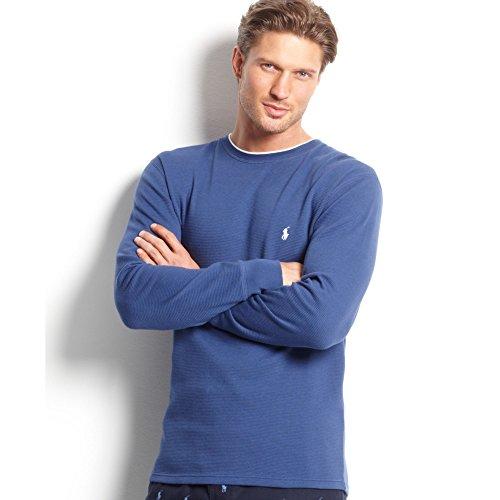 Polo Ralph Lauren Heren Longsleeve Wikkel Thermisch Blauw Met Ronde Hals
