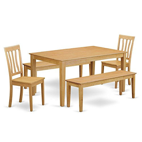 East West Furniture CAAN5C-OAK-W 5 Piece Kitchen Dinette Table and 2 Chairs Along with 2 Benches Set