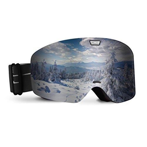 VELLAA Ski Goggles, Detachable Frame-less Anti Fog Lens 100% UV400 Protection OTG Snowboarding Goggles Adjustable Anti slip Strap for Men & Women Youth Grey (VLT 10%), - Goggles Cheap Polarized