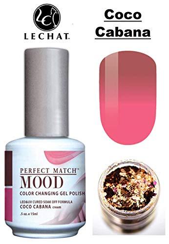 LeChat Perfect Match Mood Color Changing Gel Polish (with Nail Glitter Kit) LED & UV Cured Soak Off Nail Formula 0.5 oz (Coco Cabana)