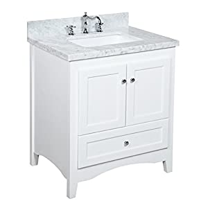 Kitchen Bath Collection KBC3830WTCARR Abbey Bathroom Vanity Set with Marble Countertop, Cabinet with Soft Close Function and Undermount Ceramic Sink, Carrara/White, 30″