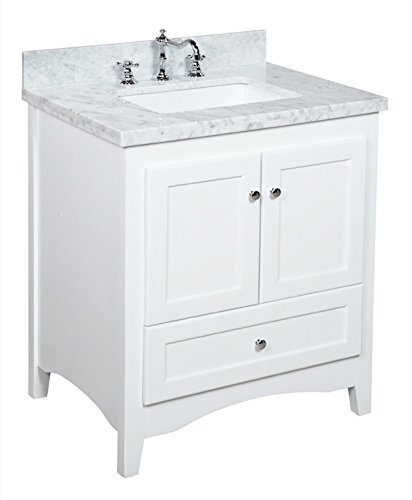 Kitchen Bath Collection KBC3830WTCARR Abbey Bathroom Vanity Set with Marble Countertop, Cabinet with Soft Close Function and Undermount Ceramic Sink, Carrara/White, 30'