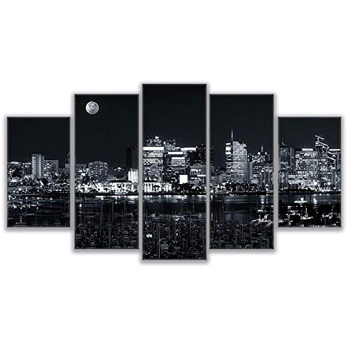 qingyuge 5 Panels Canvas Wall Artlarge Poster Hd Printed Painting Canvas Print Home Decor 5 Panel Los Angeles City Landscape Wall Art Pictures for Living Room Framed,30X40 30X60 30X80Cm]()