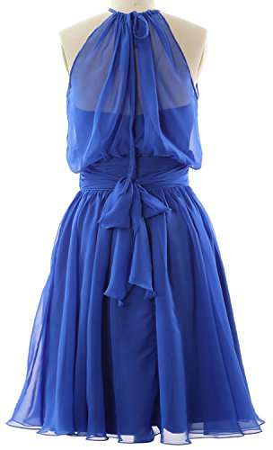 Cocktail Chiffon Gown Halter Party Dress Formal Rot Bridesmaid MACloth Short Women U4xYRF