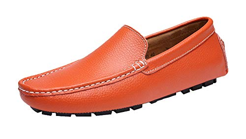 Ommda Herren Loafer Slipper Leder Mokassins Lederschuhe Orange