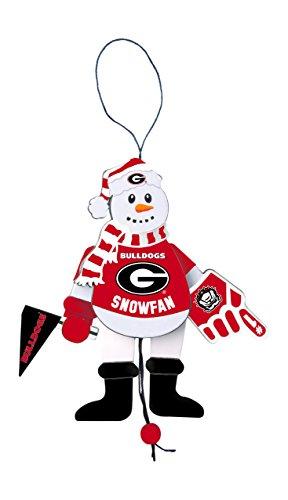 - NCAA Georgia Bulldogs Wooden Cheering Snowman Ornament