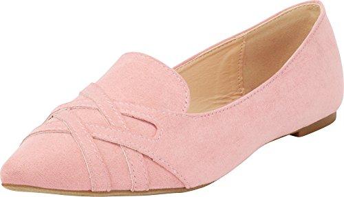 Toe Loafer Smoking Flat Mauve On Driving Pointed Slip Imsu Women's Cambridge Select BqOp1