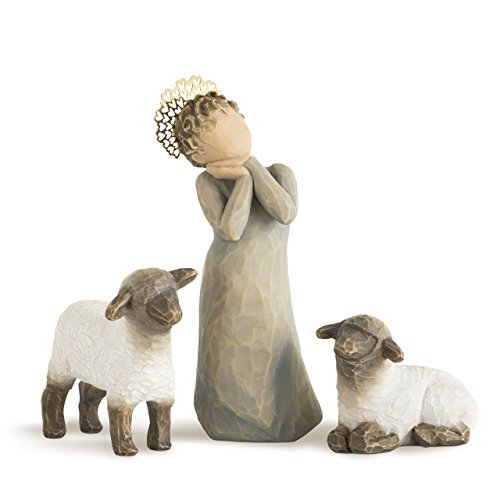 Shepherd Lamb - Willow Tree Little Shepherdess, sculpted hand-painted nativity figures, 3-piece set