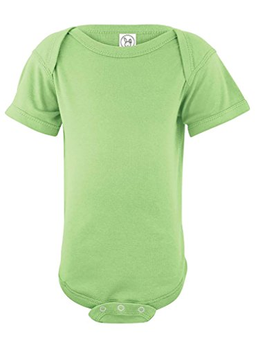 Rabbit Skins 100% Cotton Infant Baby Rib Bodysuit Short Sleeve, Key Lime, NB